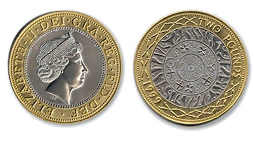 The front and reverse designs for the British 2 coin (standard version)